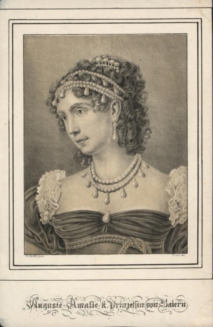 Auguste Amalie von Leuchtenberg. Litho nach Stieler