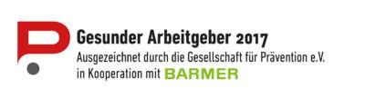 Gesunder Arbeitgeber 2017 - ausgezeichnet durch die Gesellschaft für Prävention e.V. in Kooperation mit BARMER